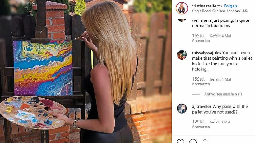 Instagram model irritiert als k nstlerin mit paletten for Mobel inserieren