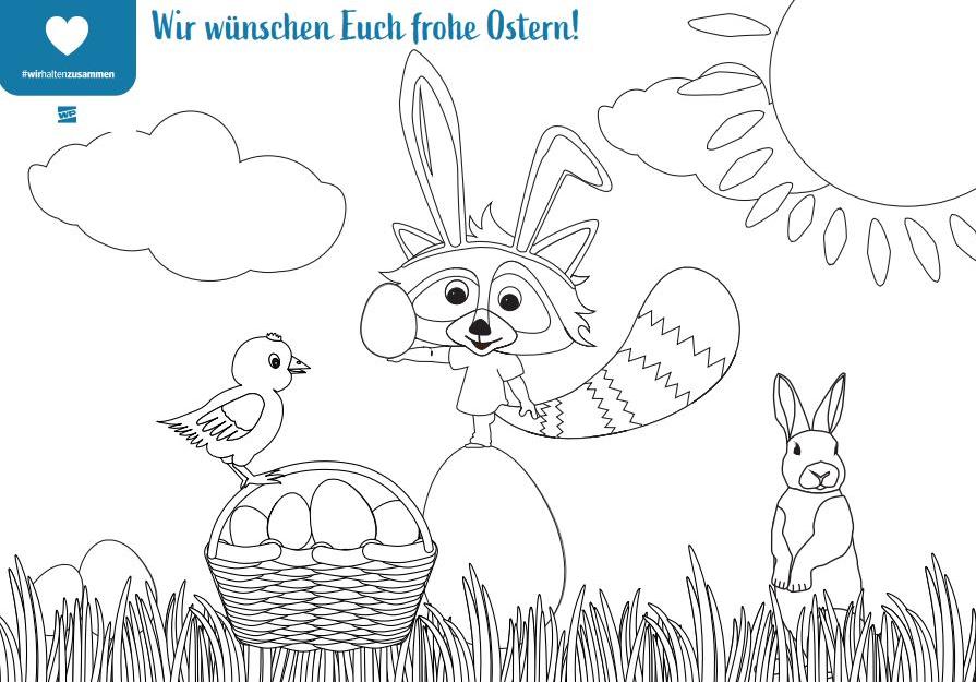 Checky wünscht euch frohe Ostern. Auf dieser Seite könnt ihr das Bild zum Ausmalen herunterladen.